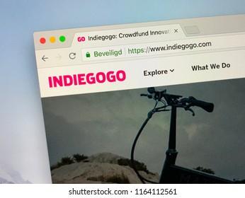 Amsterdam, the Netherlands - August 25, 2018: Website of Indiegogo, an international crowdfunding platform.