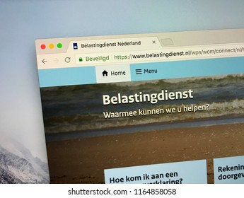 Amsterdam, Netherlands - August 26, 2018: The official homepage of The Tax and Customs Administration (Dutch: Belastingdienst) is the tax collection and customs service of the the Netherlands.