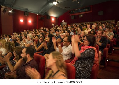 Amsterdam, The Netherlands - August 27 2016: audience in the cinema at closing award ceremony of World Cinema Amsterdam, a world film festival held from 18 to 27/08/2016