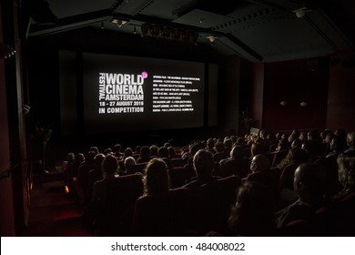 Amsterdam, The Netherlands - August 27 2016: cinema audience watching movie at closing award ceremony of World Cinema Amsterdam, a world film festival held from 18 to 27/08/2016