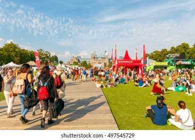 Amsterdam, The Netherlands - August 27, 2016: Vondelpark favorite place for rest and walking residents and tourists.