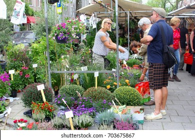 AMSTERDAM, NETHERLANDS - August 27, 2017. Female vendor sells flowers and garden plants at Lindengracht street market (Lime Tree Canal Market) in Jordaan disctrict