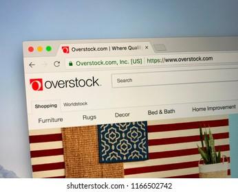 Amsterdam, the Netherlands - August 28, 2018: Website of Overstock.com. Overstock is an American internet retailer of home goods.