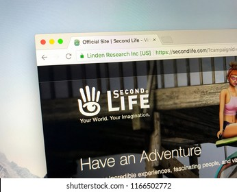 Amsterdam, the Netherlands - August 28, 2018: Website of SecondLife, an online virtual world also known as a massively multiplayer online role-playing games or MMORPG.