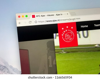 Amsterdam, the Netherlands - August 28, 2018: Website of AFC Ajax, spelled out: Amsterdamsche Football Club Ajax. Ajax is a Dutch professional football club based in Amsterdam.
