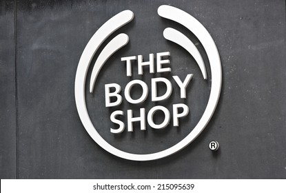 AMSTERDAM, THE NETHERLANDS - August 30, 2014, The Body Shop Company logo on a wall in at the entrance of a shop.