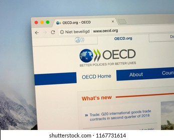 Amsterdam, the Netherlands - August 30, 2018: Website The Organisation for Economic Co-operation and Development or OECD, an intergovernmental economic organisation.