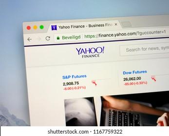 Amsterdam, the Netherlands - August 30, 2018: Website of Yahoo! Finance.