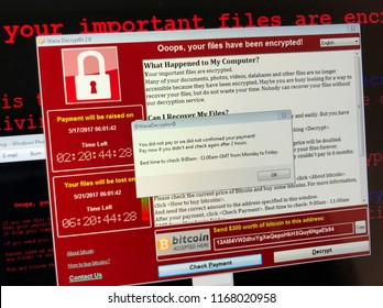 Amsterdam, the Netherlands - August 30, 2018: Screenshot of WannaCry ransomware attack on a computer screen.