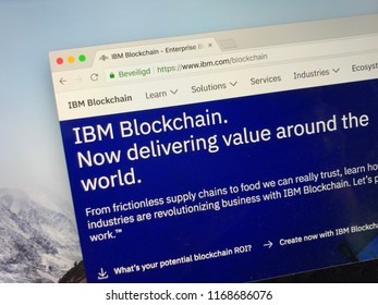 Amsterdam, the Netherlands - August 31, 2018: Website of IBM Blockchain World Wire.