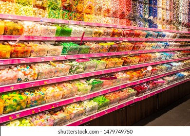 AMSTERDAM, NETHERLANDS - AUGUST 31, 2018:  View inside Jamin candy store with colorful candy display.