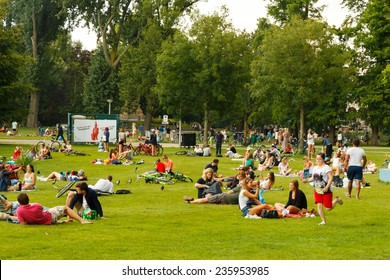 Amsterdam, Netherlands - August 5, 2014: Vondelpark favorite place for rest and walking residents and tourists.