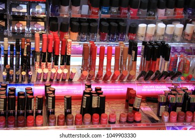 Amsterdam, the Netherlands, august 5th 2015: Rimmel nailpolish on display in a big drugstore