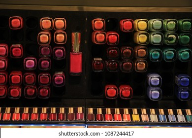Amsterdam, the Netherlands, august 5th 2015: L'oreal nailpolish on display in a big drugstore