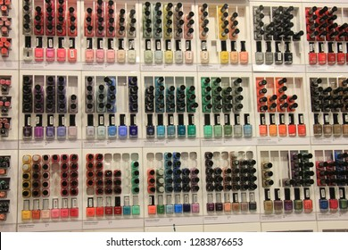 Amsterdam, the Netherlands, august 5th 2015: nailpolish on display on display in a big drugstore