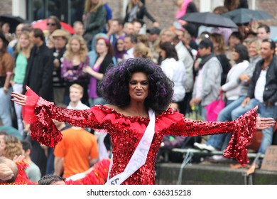 Amsterdam, Netherlands - August 7, 2010: Interesting person on the boat. Gay parade in Amsterdam, the Netherlands.