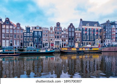 Amsterdam Netherlands canals with lights during evening in December during wintertime in the Netherlands Amsterdam city. Europe