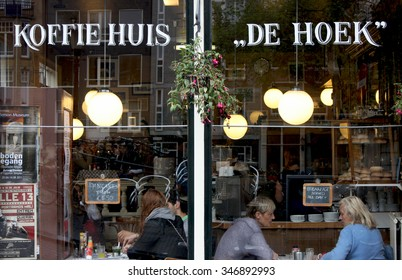 Amsterdam, the Netherlands, circa 09.2011. A coffee house with customers on the windows.