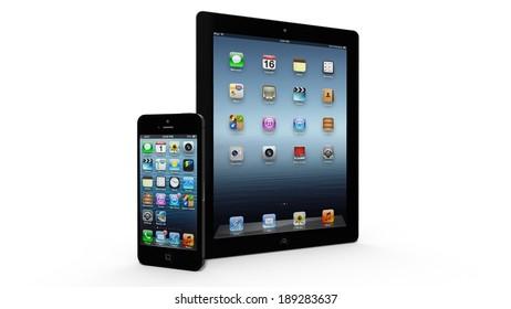 AMSTERDAM, THE NETHERLANDS - CIRCA 2014 - iPad and iPhone