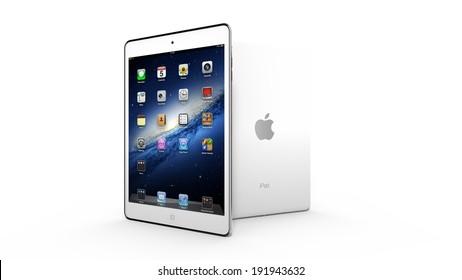 AMSTERDAM, THE NETHERLANDS, CIRCA 2014 - White Apple iPad mini tablet on display.