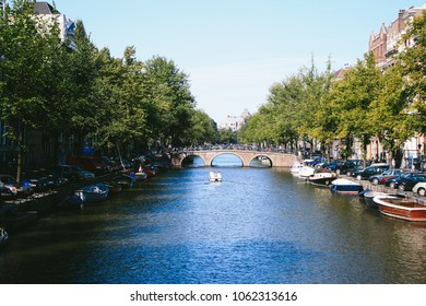 AMSTERDAM. THE NETHERLANDS - CIRCA APRIL 2017: View from one of the canals in central Amsterdam, the Netherlands