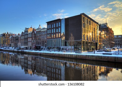 AMSTERDAM, THE NETHERLANDS - CIRCA JAN. 2013: Anne Frank house and holocaust museum in Amsterdam, the Netherlands, on a sunny morning circa Jan. 2013. Anne Frank house is a popular tourist destination