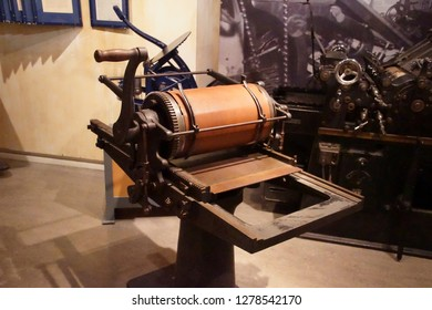 AMSTERDAM, NETHERLANDS - DEC 11, 2018 - Printing press used in secret, World War II Resistance Museum, Amsterdam, Netherlands