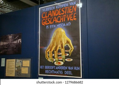 AMSTERDAM, NETHERLANDS - DEC 11, 2018 - German propaganda poster denouncing the black market in Netherlands, World War II Resistance Museum, Amsterdam, Netherlands