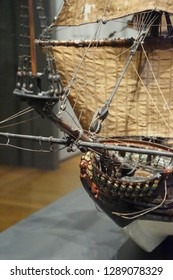 AMSTERDAM, NETHERLANDS - DEC 14, 2018 - Model of Dutch East Indiaman ship, Rijks Museum, Amsterdam, Netherlands