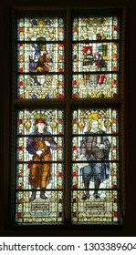 AMSTERDAM, NETHERLANDS - DEC 14, 2018 - Stained glass windows of great hall of the Rijks Museum, Amsterdam, Netherlands
