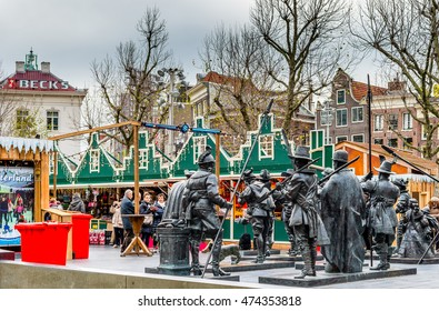 Amsterdam, Netherlands  - December 05, 2015 : Christmas market  on Rembrandt square in Amsterdam, Netherlands.