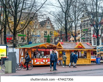 Amsterdam, Netherlands - December 05, 2015 : Christmas market on Leidenplein square in Amsterdam, Netherlands.