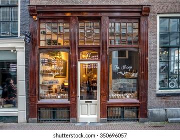 AMSTERDAM, NETHERLANDS  - DECEMBER 06, 2015 : Bakery exterior   in Amsterdam, Netherlands.
