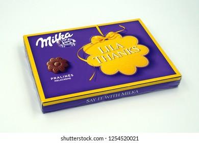 Amsterdam, the Netherlands - December 10, 2018: Milka chocolate gift box.