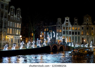 Amsterdam / Netherlands - December 14th 2015: Lighted decorations in the city of Amsterdam during the annual Amsterdam Lights Festival.