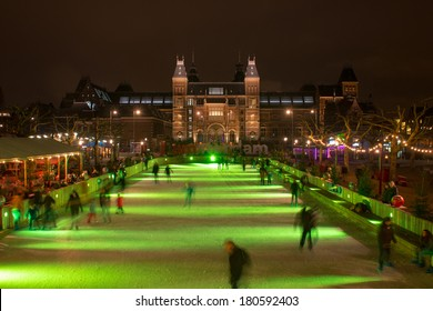 AMSTERDAM, NETHERLANDS - December 15: Skating on a christmas ice rink at the Museumsquare, Dec 15, 2013