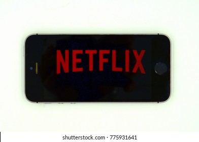 Amsterdam, The Netherlands-  December 16, 2017: Apple iPhone showing a Netflix openings screen.