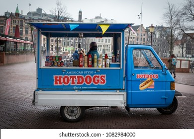 Amsterdam / The Netherlands - December 16 2018: Dutch food truck