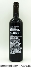 Amsterdam, The Netherlands-  December 17, 2017: Bottle of Slurp! Bistro Blend Passionately Languedoc Cabernet Sauvignon Syrah red wine.