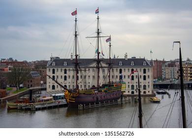 Amsterdam, Netherlands - December 18 2018: VOC-schip De Amsterdam next to Maritime museum