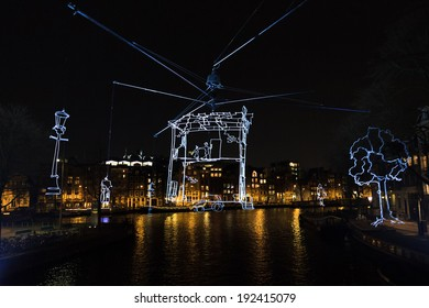 AMSTERDAM, THE NETHERLANDS - DECEMBER 19, 2013: One the many art projects in the city during the Amsterdam Lights Festival in Amsterdam, The Netherlands, on December 19, 2013