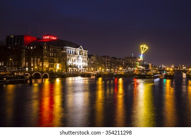 Amsterdam, the Netherlands December 20, 2015 : artwork called The Light Kite by the Collective Tijdmakers exhibited at Amsterdam Light Festival 2015 which is dedicated to theme Friendship