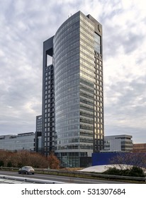 Amsterdam, Netherlands, December 2016: Head office of the Dutch private and corporate bank ABN Amro at the Mahlerlaan next to the A10 ring road