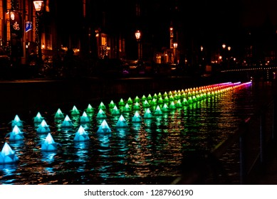 Amsterdam, The Netherlands - December 2016: Amsterdam light festival in the city