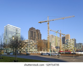 Amsterdam, Netherlands, December 2016. Overview of the Zuidas, the business, legal and finance district of Amsterdam, with several tall office buildings and construction work going on