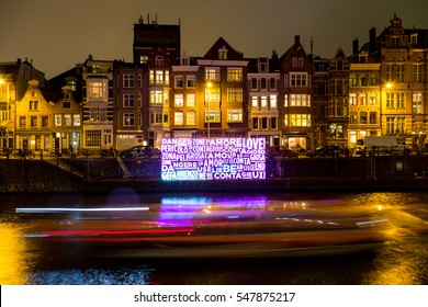 AMSTERDAM, THE NETHERLANDS - December 21, 2016:  Amsterdam Light Festival, Artwork called Together, Danger Love Zone.