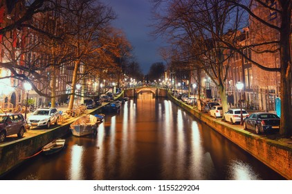 Amsterdam, The Netherlands, December 26, 2017: The Reguliersgracht in the old town of Amsterdam
