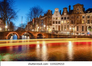 Amsterdam, The Netherlands, December 26, 2017:  The bridges over the canal Leidse Gracht in the old town of Amsterdam