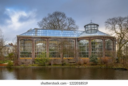 AMSTERDAM, NETHERLANDS - DECEMBER 29, 2016: Historic traditional greenhouse of the Hortus botanicus in the UNESCO World Heritage site of Amsterdam