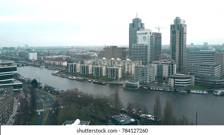 AMSTERDAM, NETHERLANDS - DECEMBER 29, 2017. Aerial shot of a the tallest office skyscrapers of the city - the Rembrandt, Breitner and Mondriaan Towers